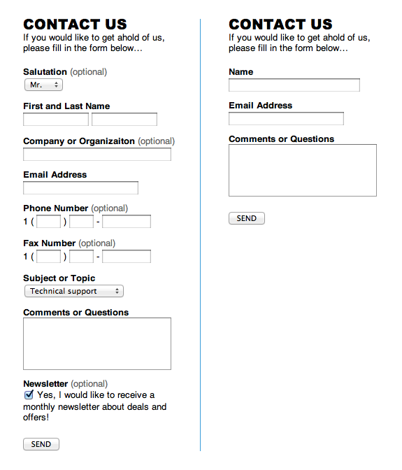Example of two contact forms, with a long one on the right and a shorter, concise one on the left